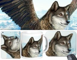 Winged wolf in ice field by emmil