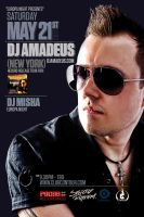 flyer for dj amadeus. seatle by sounddecor