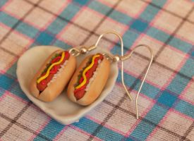 All Dressed Hot Dog Earrings by DeliciousTrickery