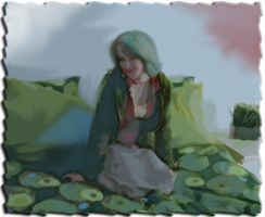 Young Girl On Bed Digital Painting by skcin7