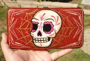 SUGAR SKULL ON A WALLET by luckyhellcat