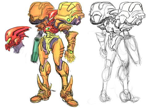 Metroid Redesign sketch by Omegachaino