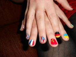 flag nail art various countries by Agathanaomi