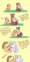 Celestia Helps Applejack Apple by poptart36