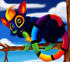 Rainbow Lemur by TheStripedKit