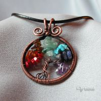 Wire wrapped chakra tree of life pendant by artual
