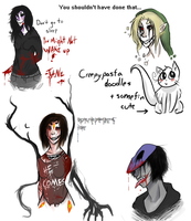 Creepypasta Doodles [Art Dump] by death-by-donuts