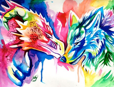 Rainbow Wolf and Dragon by Lucky978