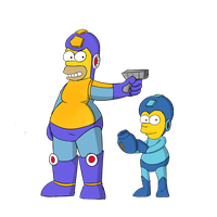 Mega Homer and Rock Bart by mariobros123