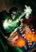 Fan Art Dr. Doom vs Akuma by fidelfaizz
