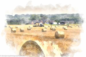 Hay loading water colour by DaveJones-Photograpy