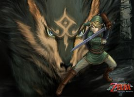 Link-Wolf wp by YamaOrce