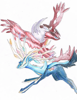 Xerneas and Yvetal by NinShroom