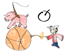 Porkchop and Steven in okami: pig by Chaos55t