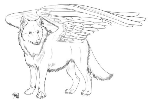 Winged Wolf FREE lineart by Spiritwollf