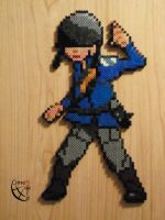 TF 2 Soldier Class Blue Perler Beads by Cimenord