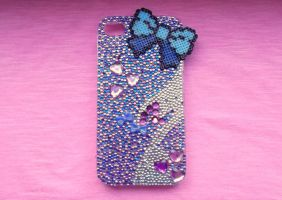 Purple and Blue Rhinestone IPhone Case by obscurepastels