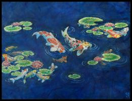Koi Pond and Lillies by Biorave
