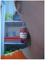 Warhol's Tomato Soup earrings by estranged-illusions