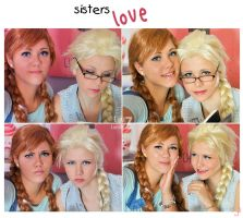 sisters love Anna Elsa by LauzLanille