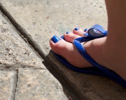 Blue Toes on Sunny Street by Feetatjoes