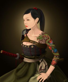 Elaine Samurai Lady by khiunngiap