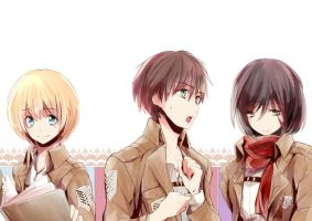 Shingeki no kyouji _ The Trio by noDuckiEallow