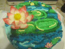 Water Lily Cake by recycledrapunzel