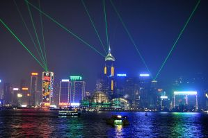 Hong Kong skyscrapers laser show by Vivi-S