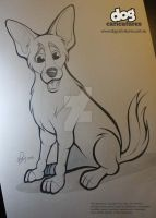 German Shepherd X Caricature Pencil Drawing by timmcfarlin