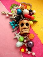 Bright skull keychain by janedean