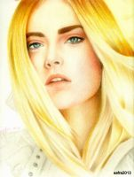 cara delevingne drawing in color pencil # 2 by nakedcrayon23