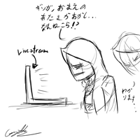 Kage sees the livestream sketch by GingaAkam