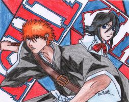 Bleach _-_ Ichigo and Rukia by AkatsukiFan505