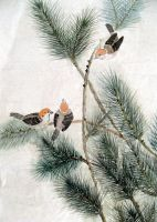 Sparrows on a Pine Tree by chinesepaintings