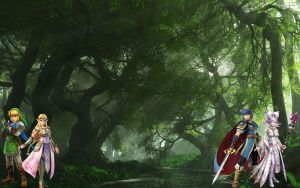 Marth x Cia and Link x Zelda in the forest. by alienskiller1