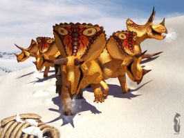 Triceratops in the snow by epic3d