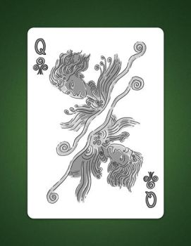My drawing of my Queen of Clubs aka Queen Of Air by LineDetail