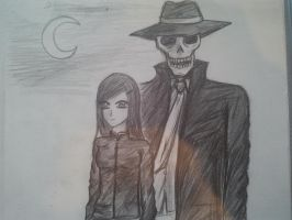 Girl and Skeleton by leaazian