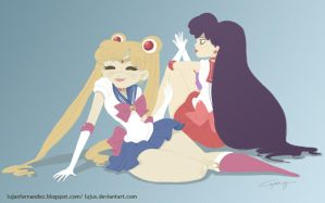 Sailor Moon and Sailor Mars by lujus