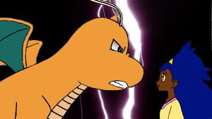 Iris and Dragonite - Coloured and backgrounded by wazzer100