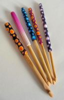 fimo covered crochet hooks by OriginalBunny