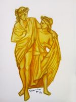 Greek Couple - Color Pencil Figure Drawing by aaTmaHira