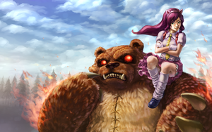 Annie Rides on Tibber's Shoulder by stupjam