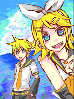 Rin and Len's summer vacation by Goya510