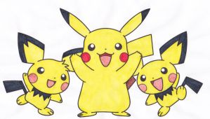 pikachu and the pichu brothers by blackreaper-dusk