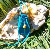 Turquoise Leather Yellow Howlite Medicine Pouch by RamsEyeSupply