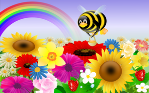 Tux with flowers -1280x800 by juhele