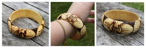 Pyrography - Orchid Bangle by BumbleBeeFairy