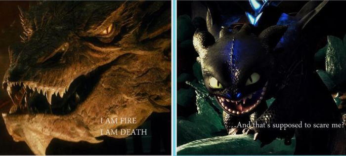 Smaug Vs Toothless 1 by TITANICSGIRL